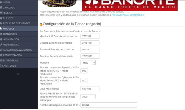 Conexion Banorte Cybersource+PW2-3D Prestashop